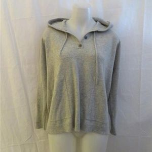 J.CREW 100% CASHMERE GRAY HOODED SWEATER TOP S